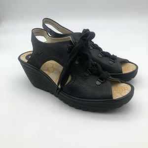 Fly London Yifa  Lace Up Black Wedges Sandals
